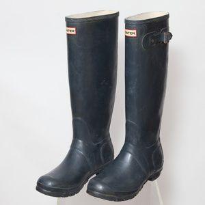 Womens Black Tall Matte Rain Boots Size 8